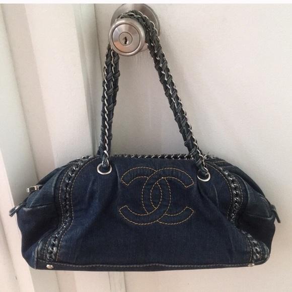 f310292c7bd3 CHANEL Handbags - Vintage Chanel Bowling denim bag